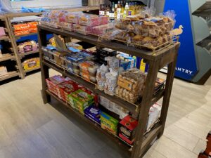 Convenience store, reclaimed timber